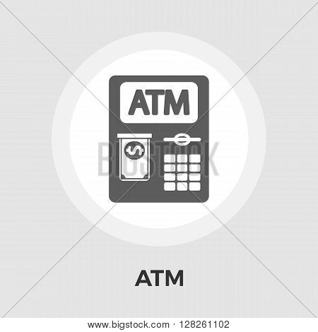 ATM. Single flat icon on white background. Vector illustration.