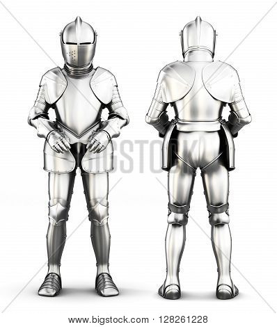 Knight armor in front and behind isolated on a white background. 3d rendering
