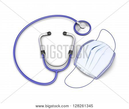 Medical mask and stethoscope isolated on white background. 3d rendering.