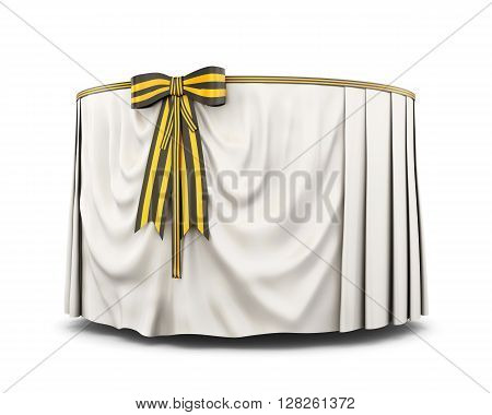 Round table with tablecloth and bow on a white background.  White tablecloth . Bow color of victory. 3d render image