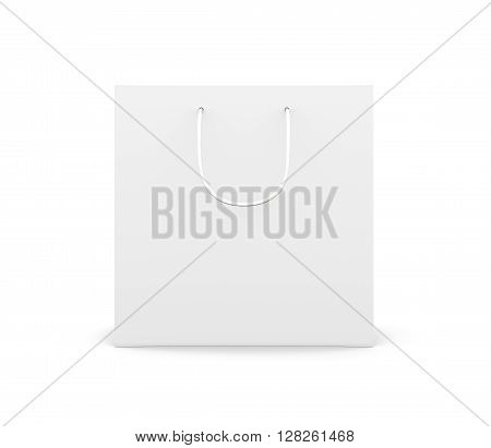 Front view paper bag with handles isolated on white background. Paper white bag for your design.  3d rendering.