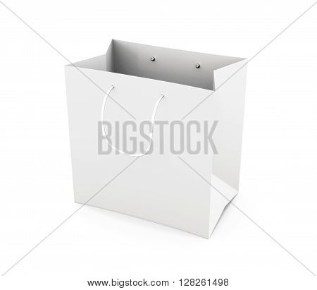 White paper bag with handles isolated on white background. Bag for purchase. Paper white bag for your design. 3d render image.