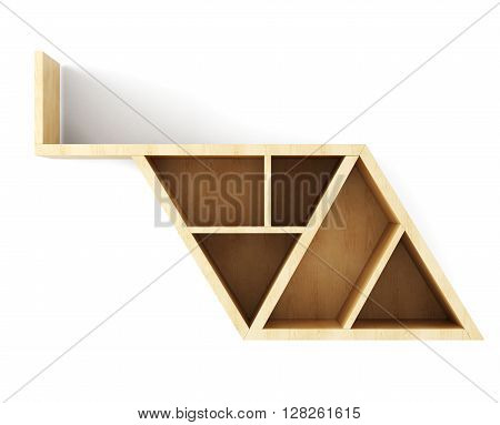 Blank wooden wall shelf for books isolated on white background. 3d illustration.