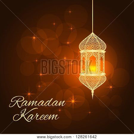Ramadan greeting card on orange background. Vector illustration. Ramadan Kareem means Ramadan is generous.