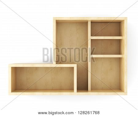 Blank wooden wall shelving on white background. 3d illustration.
