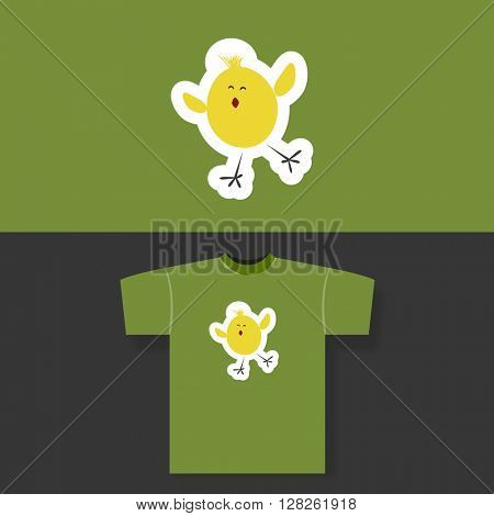 T-shirt Print Design Concept With Little Chicken