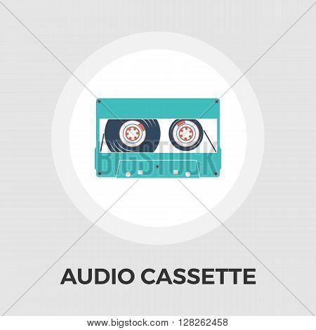 Audiocassette. Single flat icon on white background. Vector illustration.
