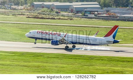 VNUKOVO MOSCOW REGION RUSSIA - 12 August 2015: Airplanes at Vnukovo international airport. Transaero Airlines A321 landed on runway