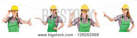 Woman in green coveralls isolated on white