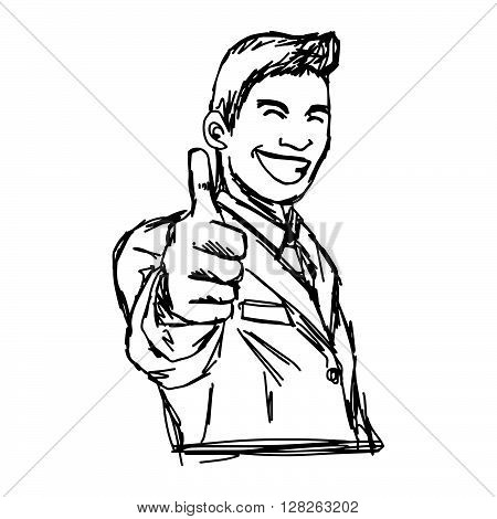 illustration vector hand draw doodles of smiling businessman showing thumb up isolated on white background