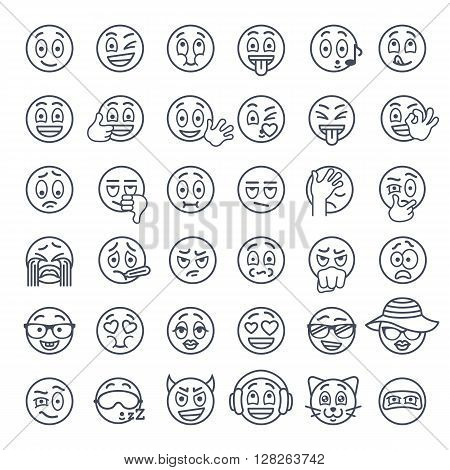 Smiley face thin lines flat vector icons set. Emoji emoticons. Different facial emotions and expression linear symbols. Cute ball cartoon character mood and reactions for text chat and web messenger