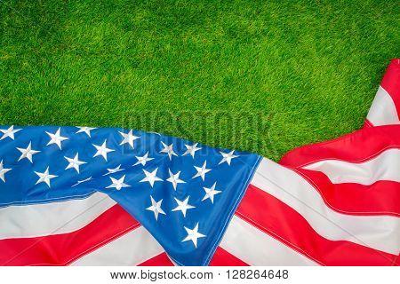 American flag on green grass
