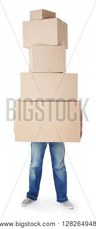 Man holding pile of carton boxes isolated on white background