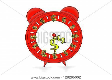 Isolated Clock With Dollar Symbols In Clockwise Direction Concept