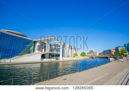 BERLIN, GERMANY - JUNE 06, 2015: Great view in a sunny day of a river and one emblematic constructions in Berlin, Marie Elisabeth Lueders house