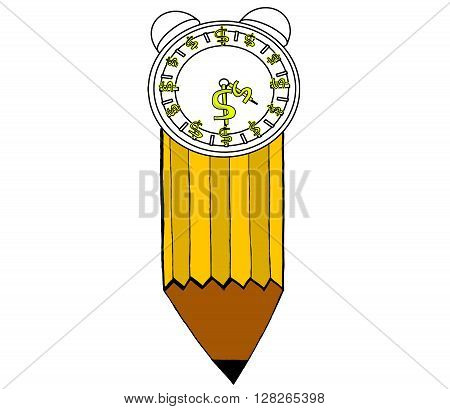 Isolated Clock With Dollar Symbols In Clockwise Direction Attached To Pencil Concept