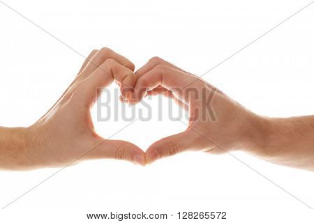 Two homosexuals making heart with their hands isolated on white
