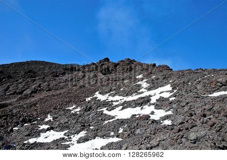 Snow field and lava stones on the Villarrica trek close to Pucón in Chile, South America