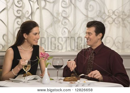 Mid adult Caucasian couple smiling eating in restaurant.