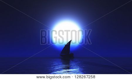 3D render of a yacht on the ocean at night