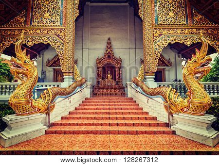 Vintage retro effect filtered hipster style image of Wihan Luang buddhits temple in Wat Phra Singh, Chiang Mai, Thailand, Asia