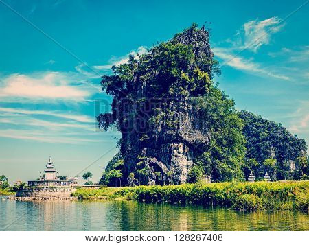 Vintage retro effect filtered hipster style image of Tam Coc - Bich Dong tourist destination near Ninh Binh, Vietnam