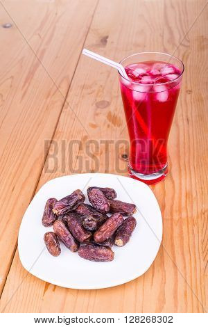 Sweet Syrup, Dates, Simple Iftar Break Fast Food During Ramadan