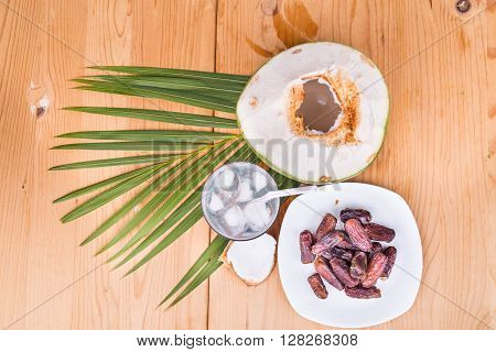 Coconut Juice, Dates Simple Iftar Break Fast Food During Ramadan