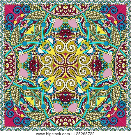 authentic silk neck scarf or kerchief square pattern design in ukrainian style for print on fabric, vector illustration