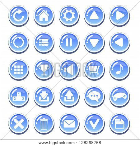 Set of blue glassy buttons for game interfaces. Vector GUI elements for mobile games. Isolated on white background