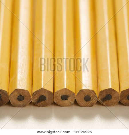 Close up of group of new unsharpened pencils lined up in an even row.