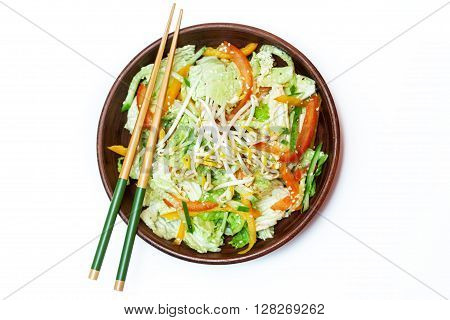 Thai salad with greens vegetables and sprouts