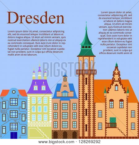 Dresden. German city. Flat Cartoon background with old German building. Vector illustration
