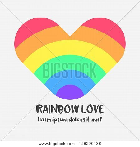 Conceptual logo with a rainbow heart. Simple flat icon with heart in rainbow colors of LGBT flag. Gay and lesbian support symbol. Design element for posters, banners and prints devoted on LGBT theme