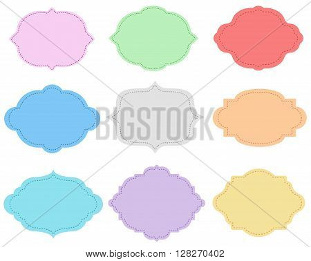 Cartoon isolated labels set. Easy change colors.