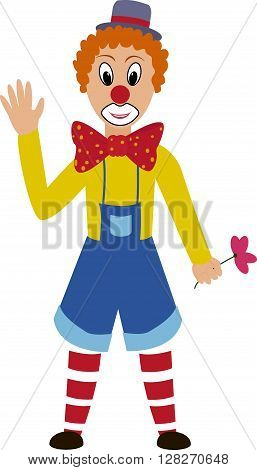 cartoon funny  clown with grim painted face