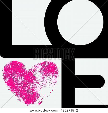 Creative typographic poster with LOVE inscription. Unusual composition and pink fingerprint heart as a letter V. Geometric phrase Love for romantic cards and modern wedding design. Black text on white