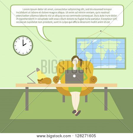 Vector flat illustration of webinar, online conference, lectures and training in internet. Mobile education by laptop. Woman with laptop at home. Vector illustration