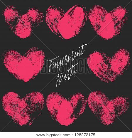 Set of 8 fingerprint hearts. Red realistic thumbprint isolated on black. For wedding, honeymoon, valentines day or romantic design. Qualitative trace of real finger print