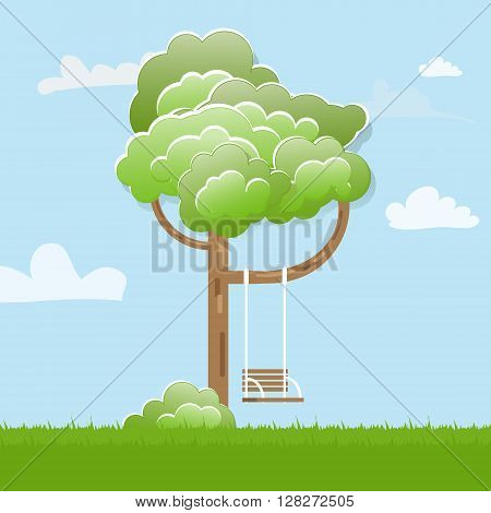 Swing On Tree in park. Funny spring or summer forest tree with swing game rope on a branch. Flat style vector illustration.