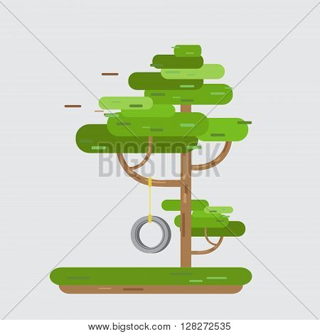Swing Tire On Tree in park. Funny spring or summer forest tree with swing tire game rope on a branch. Flat style vector illustration.