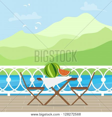 House Patio With Garden Chairs and Table on the terrace balcony. View over the lake. Mountain landscape. Picnic with waternelon. Flat style vector illustration.