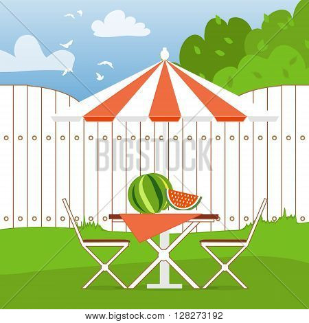 Summer picnic on the backyard. Outdoor recreation. Table with chairsumbrella and watermelon. Vector illustration in flat style and blue background