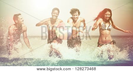 Young people having fun on vacation.