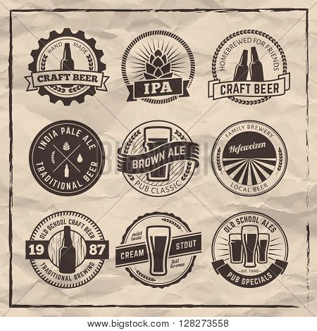 Set of vector craft beel labels. Beer badges on vintage paper background