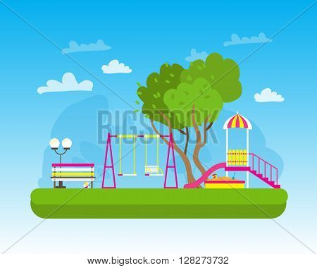 Children's playground with Swings slide sandbox bench teeter board. Kids playground. School Children's park. Buildings for city construction. Kindergarten Vector flat design illustration