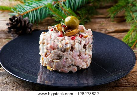 salad with mushrooms and mayonnaise. selective focus