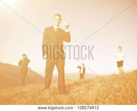 Business People Communicate Paper Cup Phone Outdoors Concept