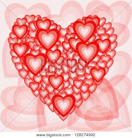 Romantic composition of the hearts. Vector illustration.