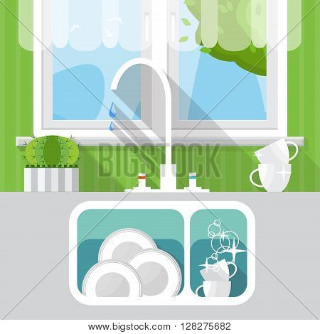 Kitchen sink with clear kitchenware. Interior and window. Vector illustration